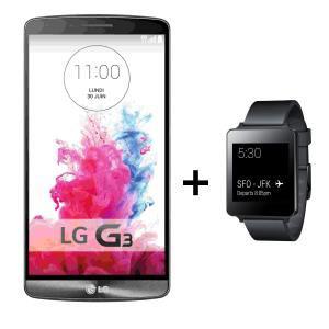 Smartphone LG G3 32Go + Montre connectée LG G Watch Noire