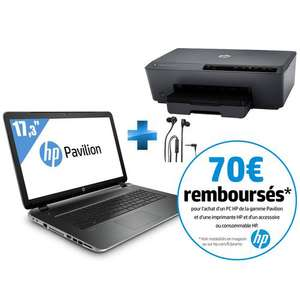 "PC Portable 17,3"" HP Pavilion 17-F123NF (AMD A8-6410 - 4Go - 1To) + Imprimante HP Officejet 6230 + Casque stéréo HP H2300 (ODR de 70€)"
