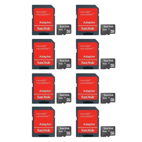 Pack de 8 x carte Mémoire SanDisk Micro SDHC 4Go Classe 4+ Adaptateur SD