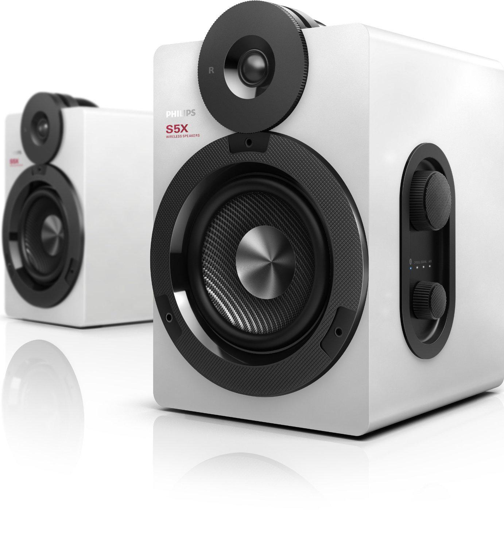 Enceintes stéréo sans fil Philips BTS5000W/10 - Bluetooth, Apt-X AAC, 100W