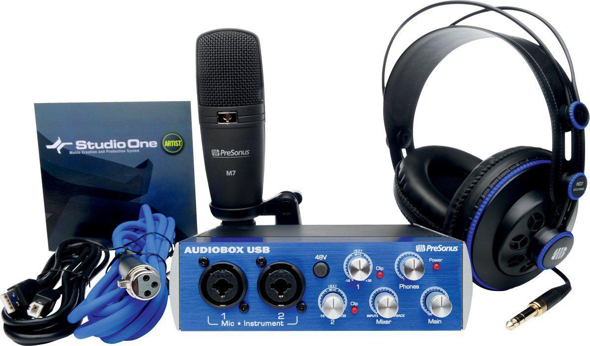 kit d'enregistrement studio Presonus Audiobox (avec Casque HD7 + Microphone M7 + Studio One Artist + Câbles Noir)