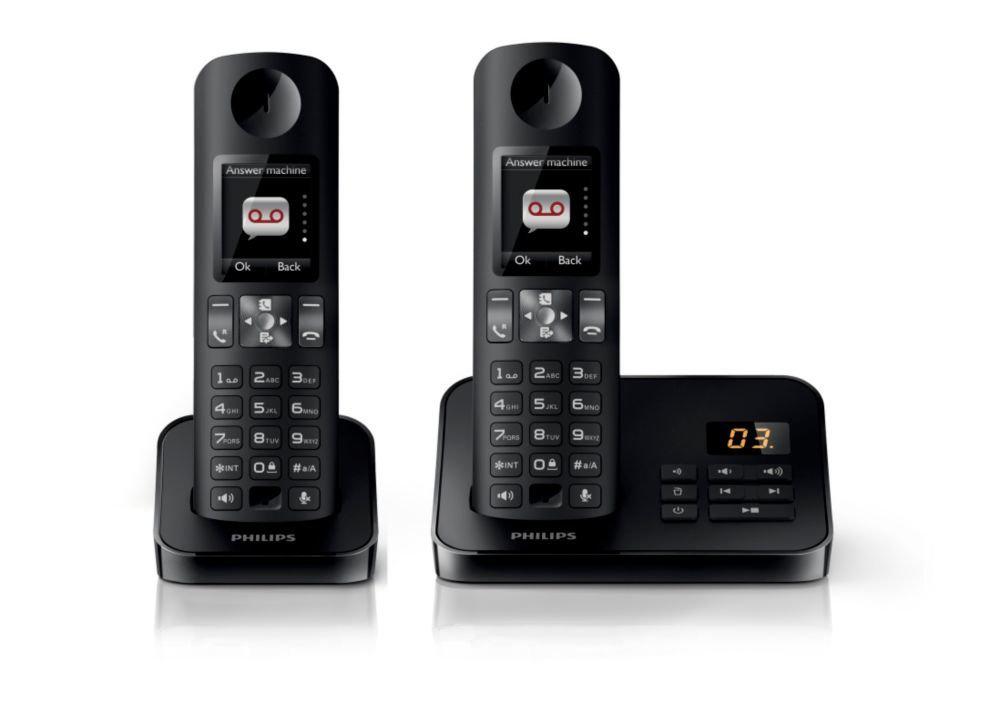 Téléphone fixe sans fil Philips D6052B/FR : 2 combinés avec répondeur - écran couleur - fonction babyphone  (ODR 20€)