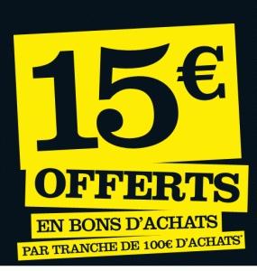 15€ en bon d'achat par tranche de 100€
