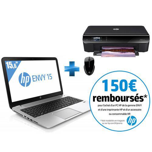 """Pc portable 15"""" Hp Envy 15-J195NF - Argent + Imprimante HP Envy 4503 e-tout-en-un + Souris sans fil HP X3500 (ODR 150€)"""