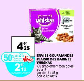 12 sachets Whiskas Simplement Bon (avec 50% sur carte)