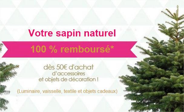 Votre sapin Nordmann remboursé en bon d'achat (20€) pour 50€ d'achats en accessoires et objets de décoration