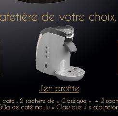 Cafetière double fonction offerte pour l'achat de 180 dosettes + 250gr de café moulu