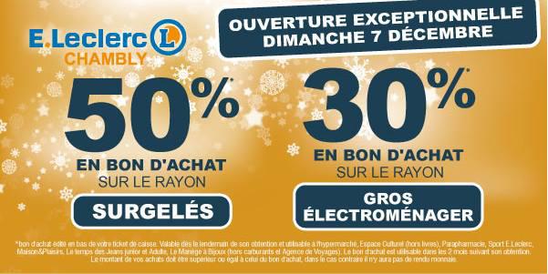 50% en bon d'achats sur le rayon surgelés / 30% sur le rayon gros électroménager
