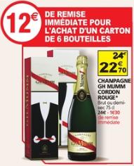 6 Bouteilles de champagne G H Mumm