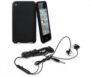 MUVIT Housse silicone noire opaque + écouteurs intra-auriculaire pour iPod touch 4G