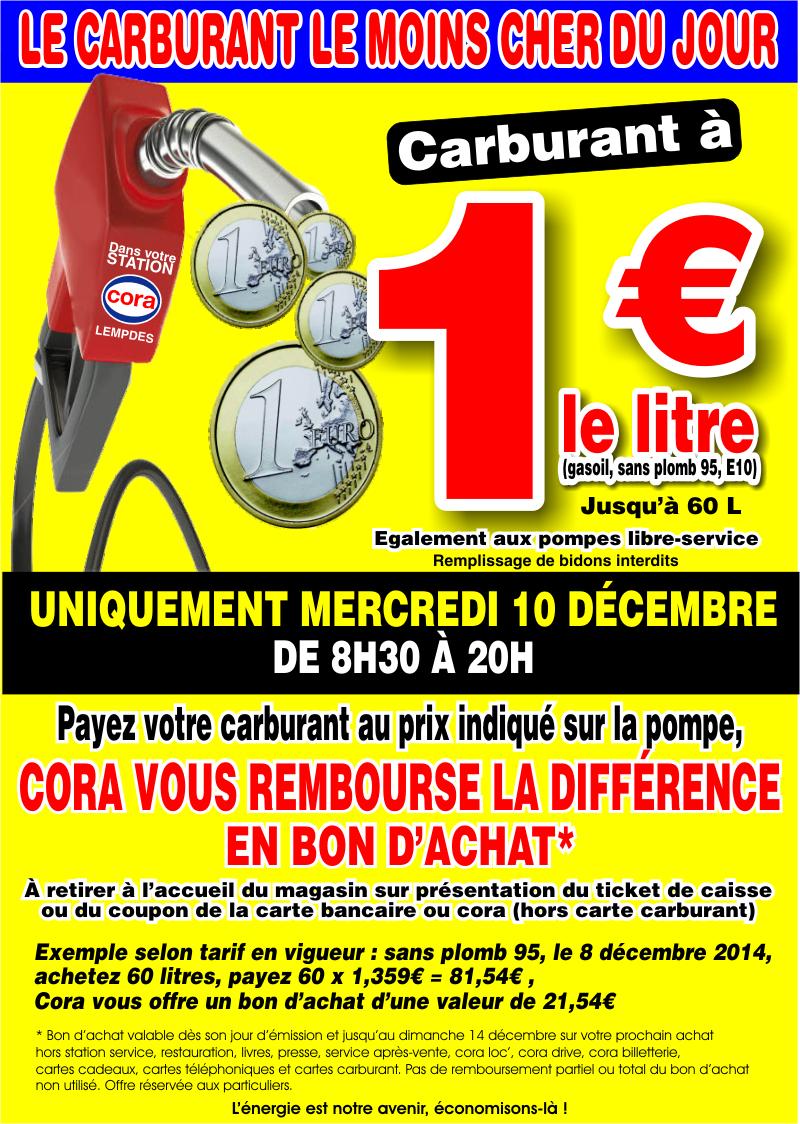 Carburants à 1€ (différence remboursée en bon d'achats)