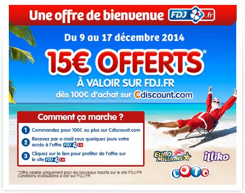 15€ offerts (pour les nouveaux inscrits)  sur la  FDJ.fr dès 100€ d'achat