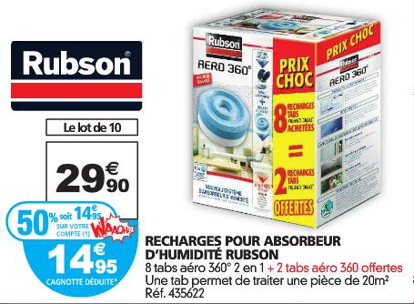 10 recharges pour absorbeur d'humidité Rubson (50% sur carte)