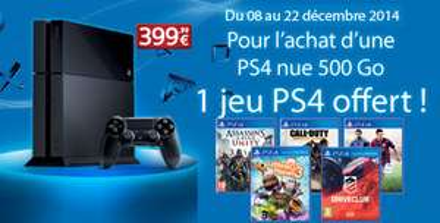 Console Sony PS4 noire +  1 jeu offert sur une sélection + le jeu Destiny (à 20€)