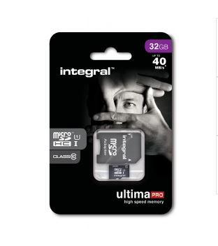 Carte mémoire Integral UltimaPro 32 Go microSDHC Classe 10 - 40 Mo/s