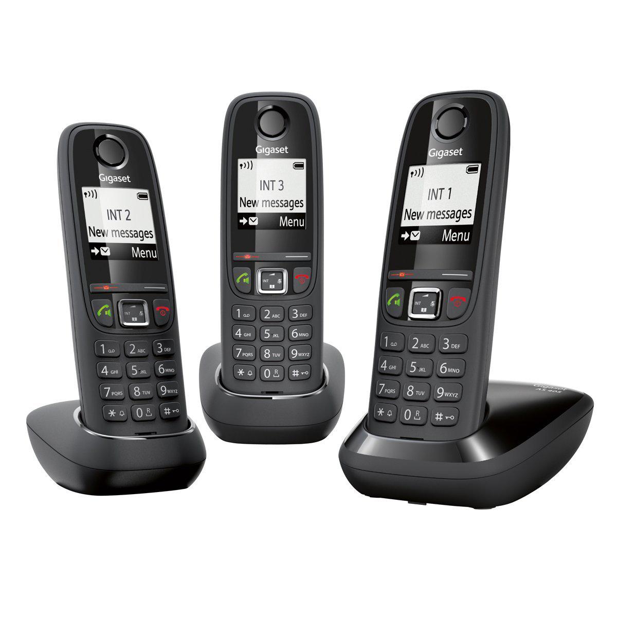 Téléphone fixe DECT/GAP Gigaset AS405 Trio - Noir (avec ODR 15€)