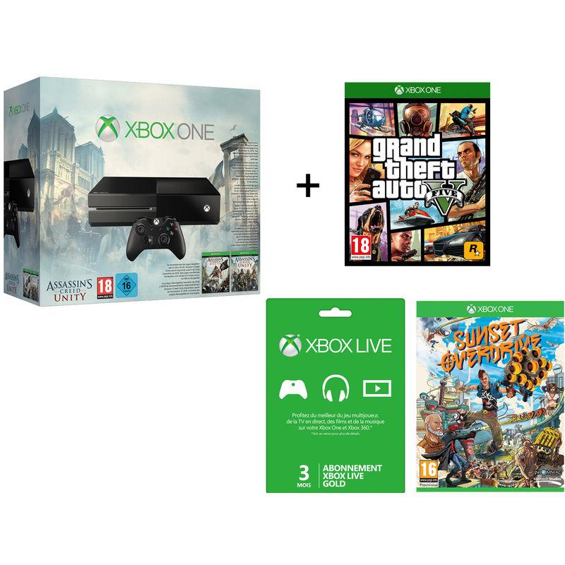Console Xbox One + 4 Jeux (GTA V, Sunset Overdrive, Assassin's Creed Unity et Black Flag) + 3 mois de Live