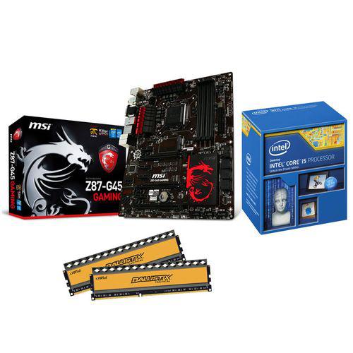 Kit Evo Gamer : Intel Core i5 4670K + Carte mère MSI Z87-G45 Gaming + 8 Go DDR3 Crucial Ballistix Tactical 1600 MHz