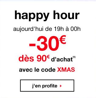 Happy hour : 30€ de réduction dès 90€ d'achat