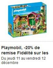 20 % de remise fidélité sur les Playmobil