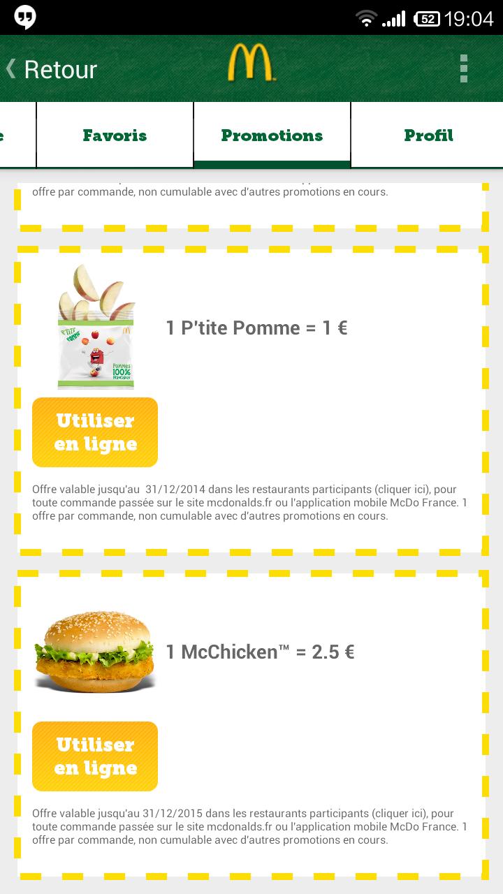 Burger McChicken (via l'application)