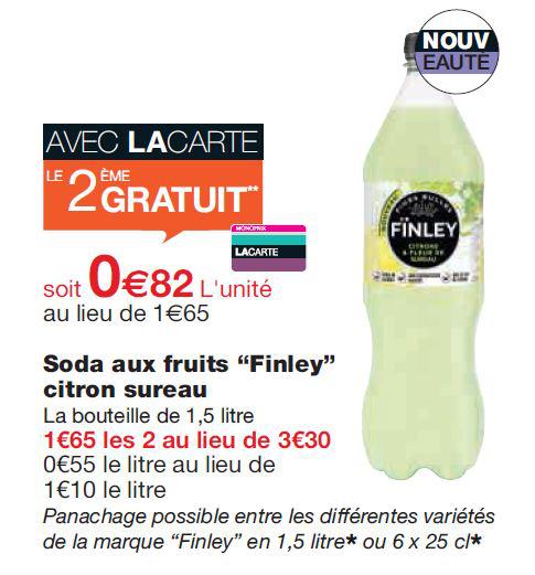 2 bouteilles de boisson Finley 1,5L gratuites (au lieu de 3.30€, avec la carte monoprix)