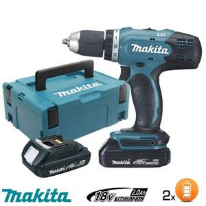 Perceuse visseuse Makita LXT 18V + 2 bat Li-ion 2Ah + coffret Mak-Pac