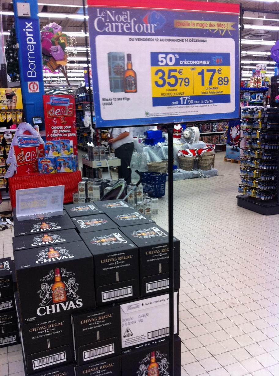 Whisky Chivas 12 ans 1L (avec 50% sur carte fidélité) et BDR 1,5e