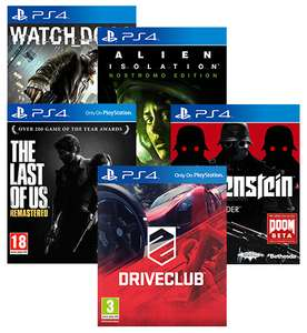 Jeux PS4 : Watch Dogs + Alien Isolation + The Last Of Us + Drive Club + Wolfenstein
