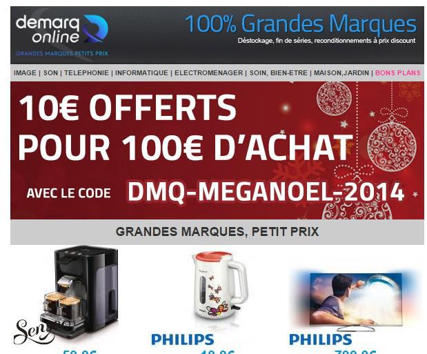 10€ offerts dès 100€ d'achat