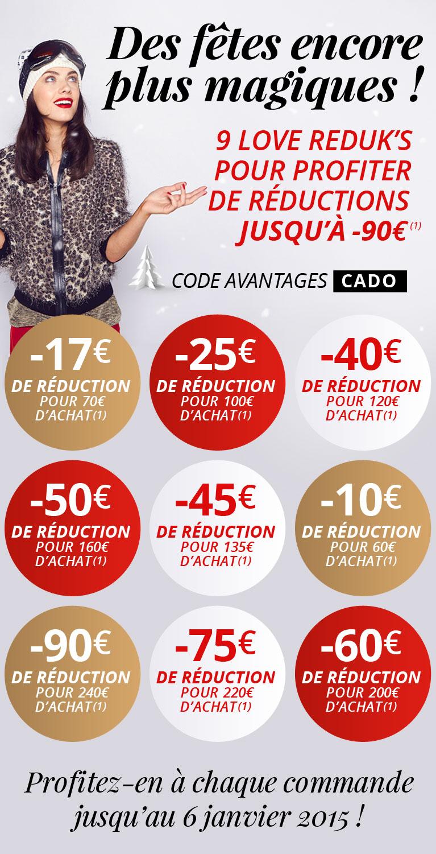 10€ de réduction dès 60€ d'achat, 17€ dès 70€, 25€ dès 100€...