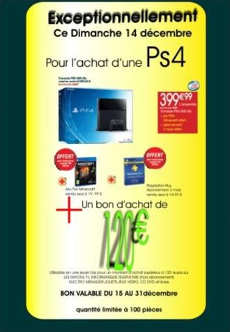 Pack Console PS4 + Minecraft + abonnement 3 mois (399.99€  + 120€ en Bons d'achat)
