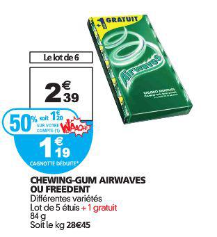 Lot de 6 paquets Chewing-gums Airwaves
