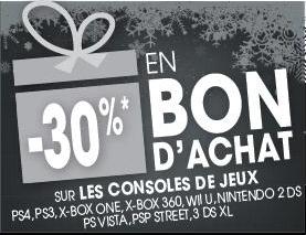 30% en bon d'achat sur tout le rayon console - Ex : PS4 noire avec une manette