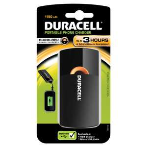 Chargeur USB Portable Duracell PPS3H 3h 1150 mAh