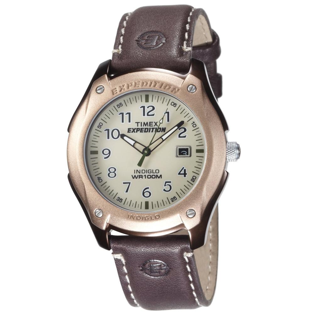 Montre Homme  Quartz  Timex Expedition - T46971 - Analogique - Lumière - Bracelet Cuir Marron