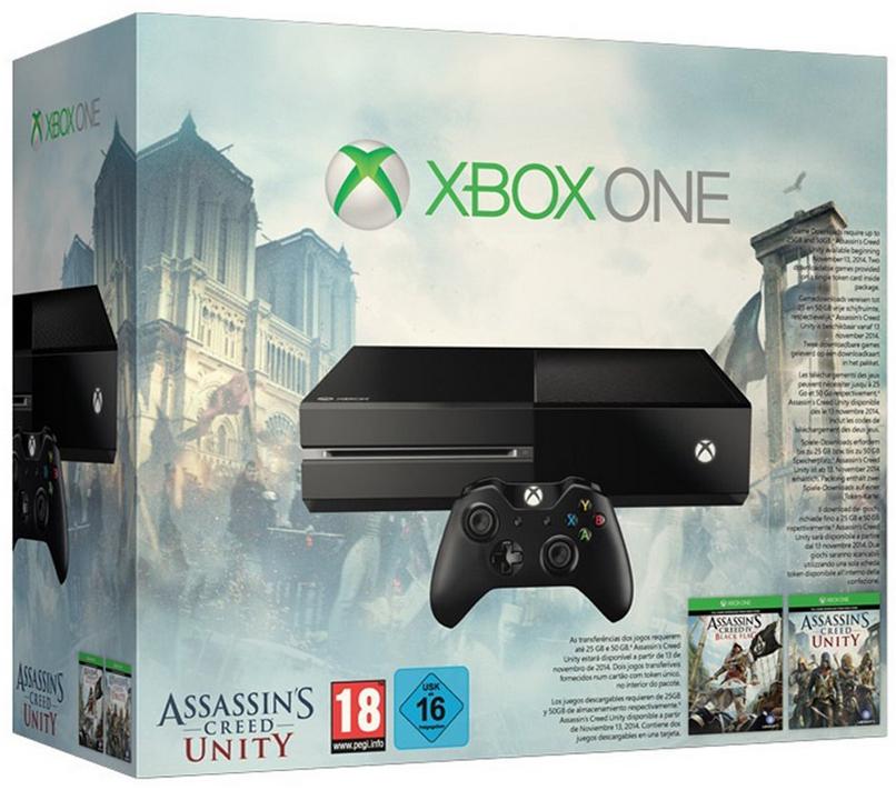 Console Xbox One bundle Assassin's creed Unity + Assassin's Creed 4 : Black Flag + 1 jeu de la sélection
