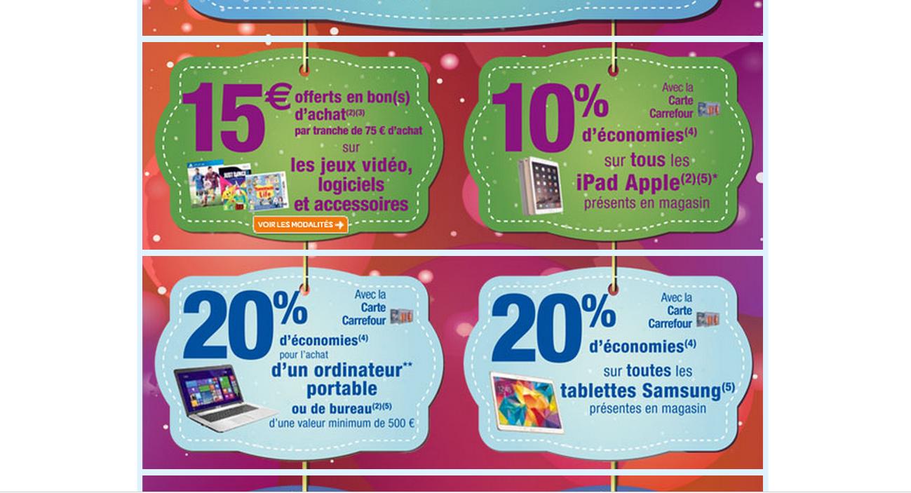 10% sur les tablettes iPad, 20% sur les tablettes Samsung et les ordinateurs