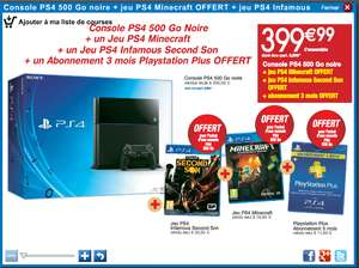 -20% en €urocora sur l'article de votre choix - Ex : Console Sony PS4 500Go + Infamous Second Son et Minecraft + Abonnement Playstation Plus 3 mois