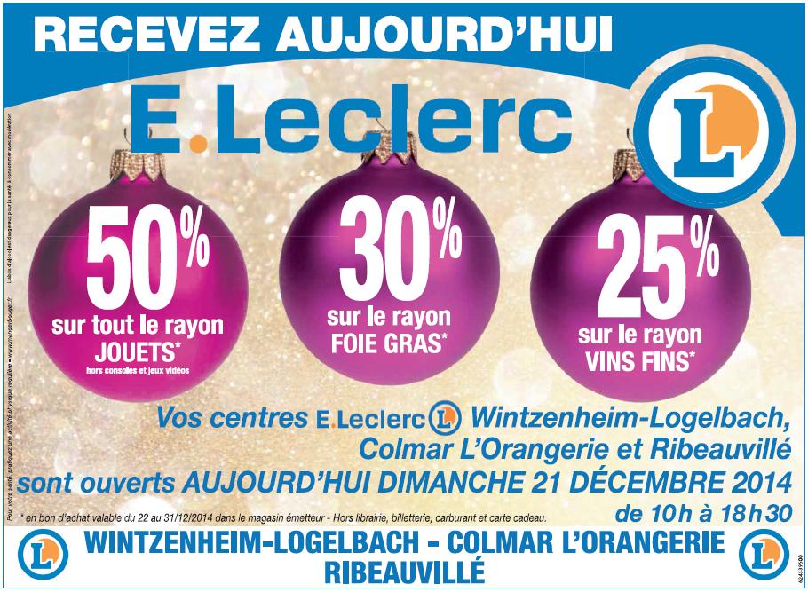 -50% en bons d'achat sur le rayon jouets, -30% sur les foie gras et -25% sur les vins fins