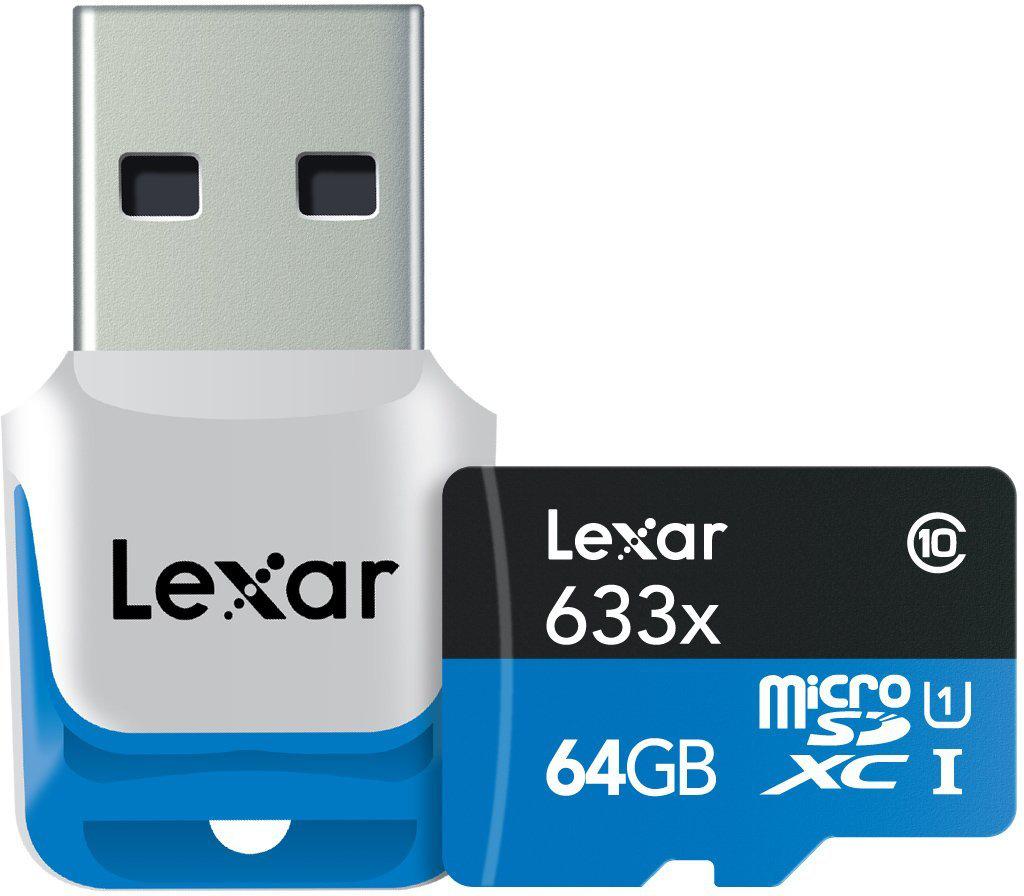 Carte mémoire Micro SD Lexar 64Go Classe 10 + Lecteur USB 3.0