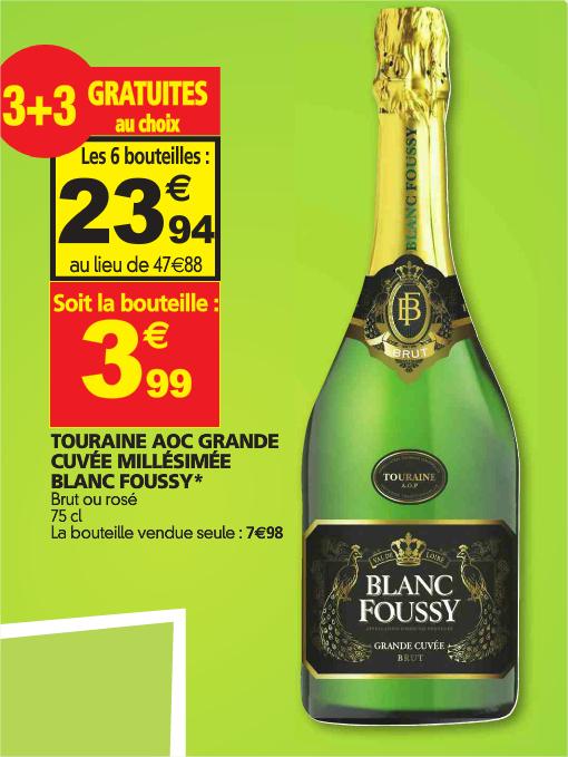 Lot de 6 bouteilles Touraine AOC Grande cuvée millésimée Blanc Foussy