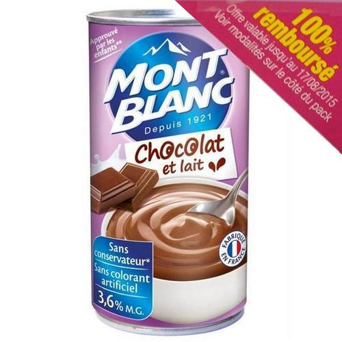 Crème Mont-Blanc chocolat et lait 570g 100% remboursée