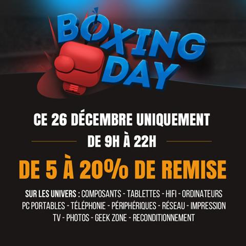 """""""Boxing Day"""" : Jusqu'à -20% sur une sélection de catégories tout au long de la journée"""