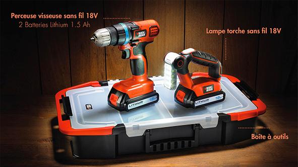 Perceuse visseuse sans fil 18V Black & Decker EGBL18BFST + Lampe torche + + 2 batteries Lithium + Boite à outils + billet d'avion en Europe A/R