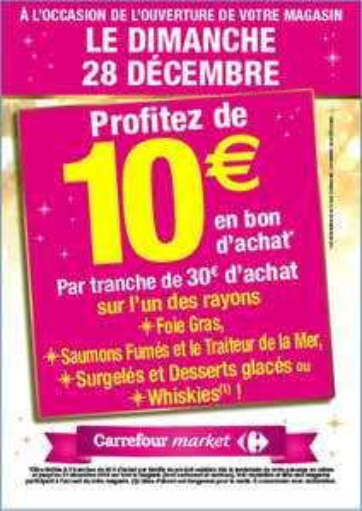 10€ en bon d'achat pour 30€ d'achat sur les Whiskies, Foies gras, Saumon fumé et Surgelés