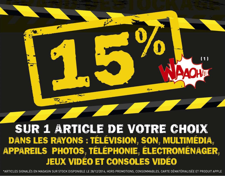 15% crédité sur le compte Waooh sur un article de votre choix parmi une sélection
