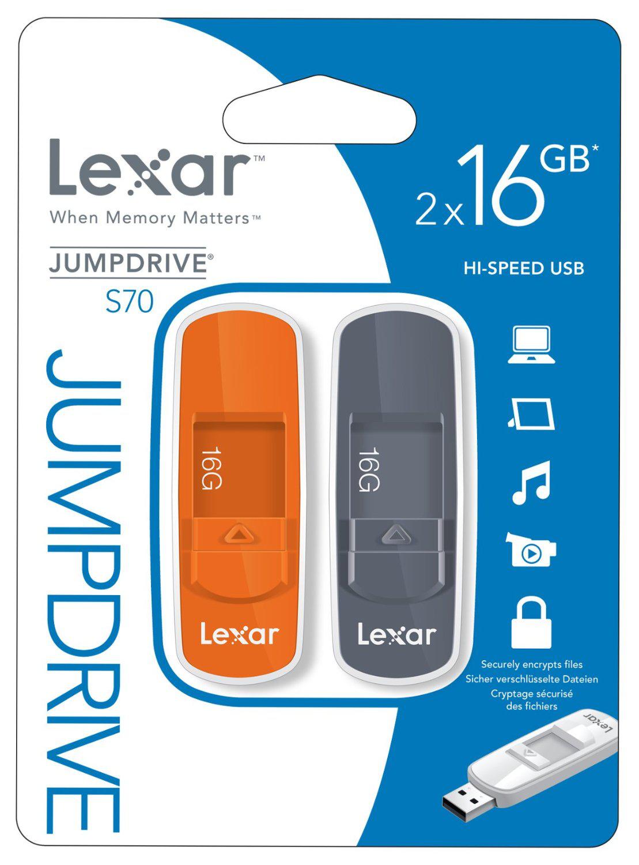 Lot de 2 clés USB Lexar Jump Drive S70 - 16 Go