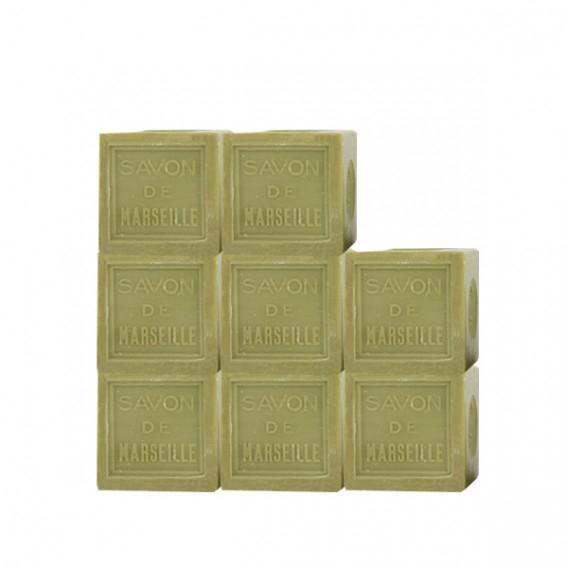 Pack de 8 cubes de 300g de Savon de Marseille Olive 100% d'origine végétale