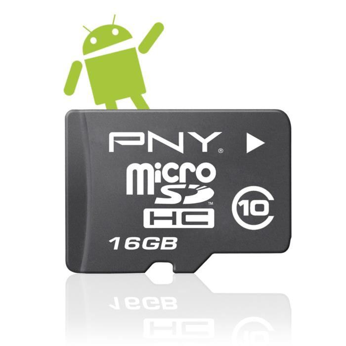 Carte MicroSD 16 Go PNY Android classe 10 + Adaptateur SD